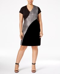 Ny Collection Plus Size Metallic Inset Dress Onyx Starynight