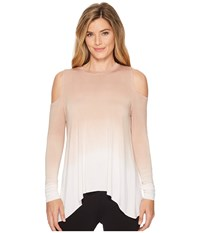 Hard Tail Wrap Back Cold Shoulder Top Ombre Wash 2 Clothing Beige