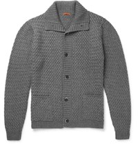 Barena Basketweave Wool Blend Cardigan Gray
