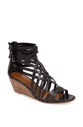 Hinge 'Neta' Leather Wedge Sandal Black