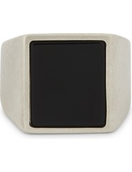 Maison Martin Margiela Silver And Natural Stone Ring Silver Black