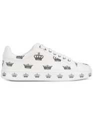 Dolce And Gabbana London Crown Print Sneakers Men Calf Leather Leather Rubber 43 White