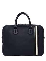 Bally Pebbled Leather Briefcase W Stripes