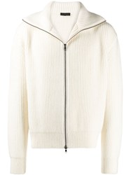 Ann Demeulemeester Zip Up Ribbed Cardigan White