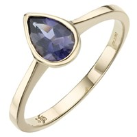 A B Davis 9Ct Yellow Gold Pearshaped Rubover Semi Precious Ring Iolite