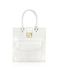 L.A.P.A. White Croco Stamped Leather Tote Bag