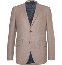 Etro Brown Slim Fit Wool Blend Blazer Light Brown