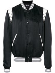 Just Cavalli Embroidered Chest Panel Bomber Black