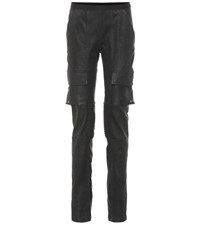 Rick Owens Leather And Stretch Cotton Pants Black