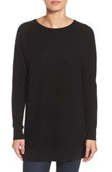Halogenr Petite Women's Halogen High Low Wool And Cashmere Tunic Sweater Black