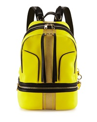 Cynthia Rowley Brody Striped Scuba Leather Backpack Yellow Gold