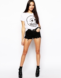 Asos Low Rise Denim Shorts In Washed Black With Western Belt