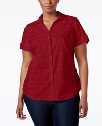Karen Scott Plus Size Eyelet Button Down Shirt Only At Macy's New Red Amore