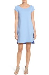 Eileen Fisher Petite Women's Stretch Cotton Ballet Neck Shift Dress Bluebird