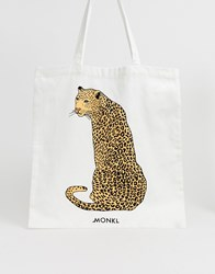Monki Leopard Placement Organic Cotton Tote Bag In Off White
