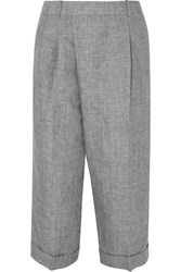 Michael Kors Collection Cropped Linen Wide Leg Pants Gray