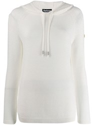 Barbour Ribbed Design Hoodie White