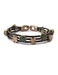 Lucky Brand Jade And Leather Bracelet Jade Gold