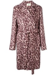 Ports 1961 Leopard Print Coat Pink And Purple