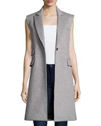 Veronica Beard Palmer Vest With Leather Moto Dickey Gray Black