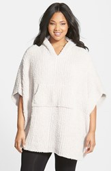 Plus Size Women's Barefoot Dreams Cozychic Ribbed Hooded Poncho Beige Stone