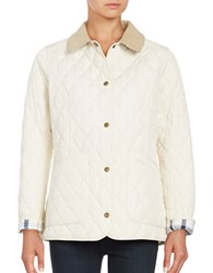 Barbour Tartan Accented Quilted Jacket Pearl