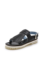 Studio Pollini Fringe Flat Sandals Black