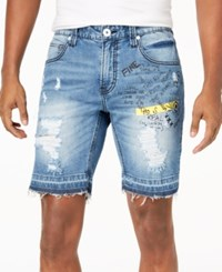 Inc International Concepts I.N.C. Men's Scribble Denim Shorts Created For Macy's Medium Wash
