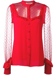 Piccione.Piccione Piccione. Piccione Sheer Panel Ruffle Trim Blouse Red