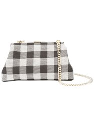 Mansur Gavriel Checker Mini Volume Clutch White