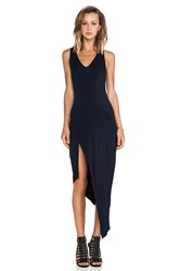 Krisa Asymmetrical Racerback Maxi Dress Black
