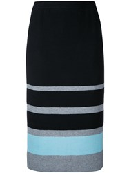 Loveless Striped Knit Pencil Skirt Women Cotton Acrylic 9 Black