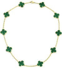 Van Cleef And Arpels Vintage Alhambra Gold Malachite Necklace Yellow Gold