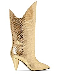 Attico 70Mm Betta Snake Print Leather Boots Gold