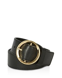 Karen Millen Lux Round Buckle Belt Black