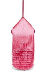 Hillier Bartley Lantern Fringed Leather Clutch Pink