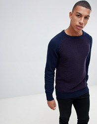 Another Influence Waffle Front Jumper Navy