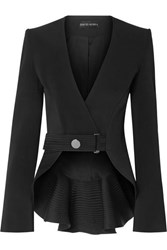 David Koma Ruffled Satin Trimmed Cady Blazer Black