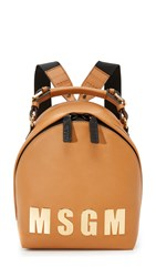 Msgm Logo Backpack Tan
