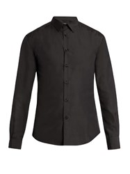 Helbers Point Collar Long Sleeved Silk Shirt Black