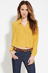 Forever 21 Contemporary Collared Blouse Mustard