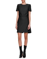 Alexander Mcqueen Short Sleeve Cape Back Dress Black