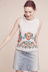 Maeve Tara Embroidered Lace Top White