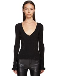 Ermanno Scervino Viscose Blend Knit Sweater W Crystals Black