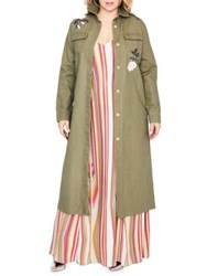 Rachel Roy Plus Embroidered Cotton Coat Army