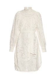 Zimmermann Master Ruffle Neck Dress White