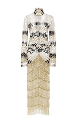 Naeem Khan Beaded Fringe Midi Dress Gold