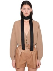 Red Valentino Cropped Virgin Wool Knit Cardigan Camel