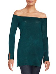 State Of Being Trinity Knit Off The Shoulder Wool Blend Top Teal