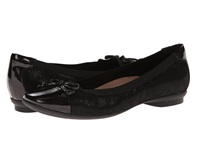 Clarks Candra Glow Black Suede Women's Dress Flat Shoes
